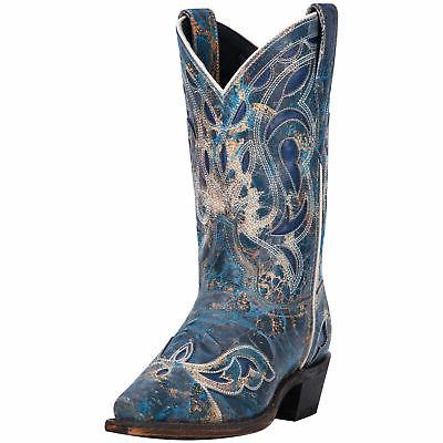 womens blue cowboy boots leather snip toe