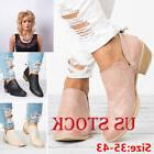 Womens Low Heel Round Toe Casual Boots Ladies Zipper Ankle B