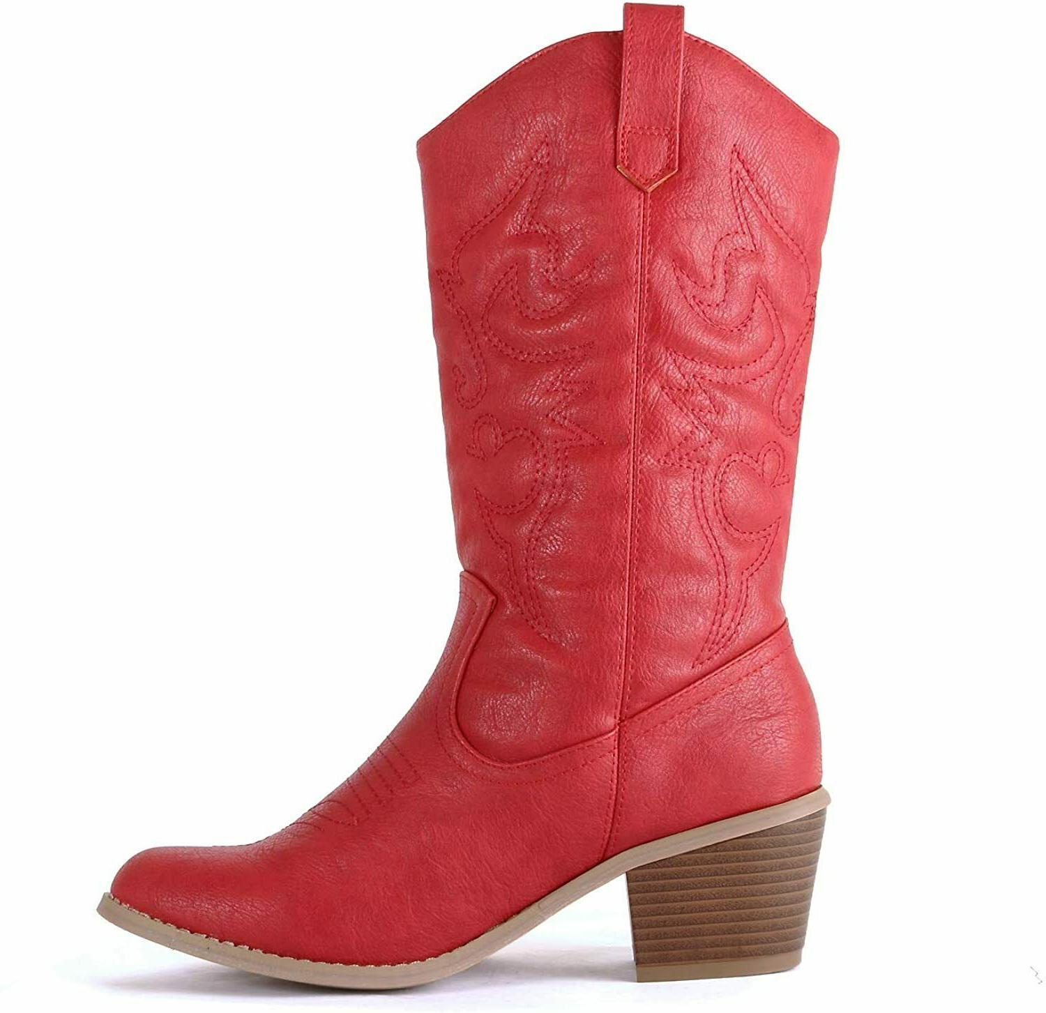 West Blvd Miami Western Boots, Red, 9