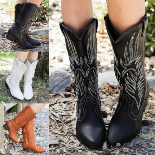 Womens Mid Calf Pointed Toe Block Heels Western Cowboy Cowgirl Shoes