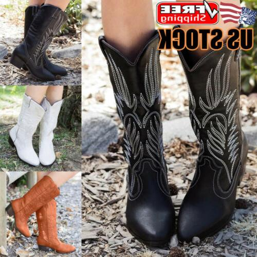 womens mid calf boots pointed toe block