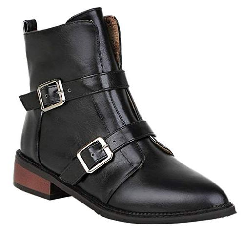 womens vintage leather bootie buckle