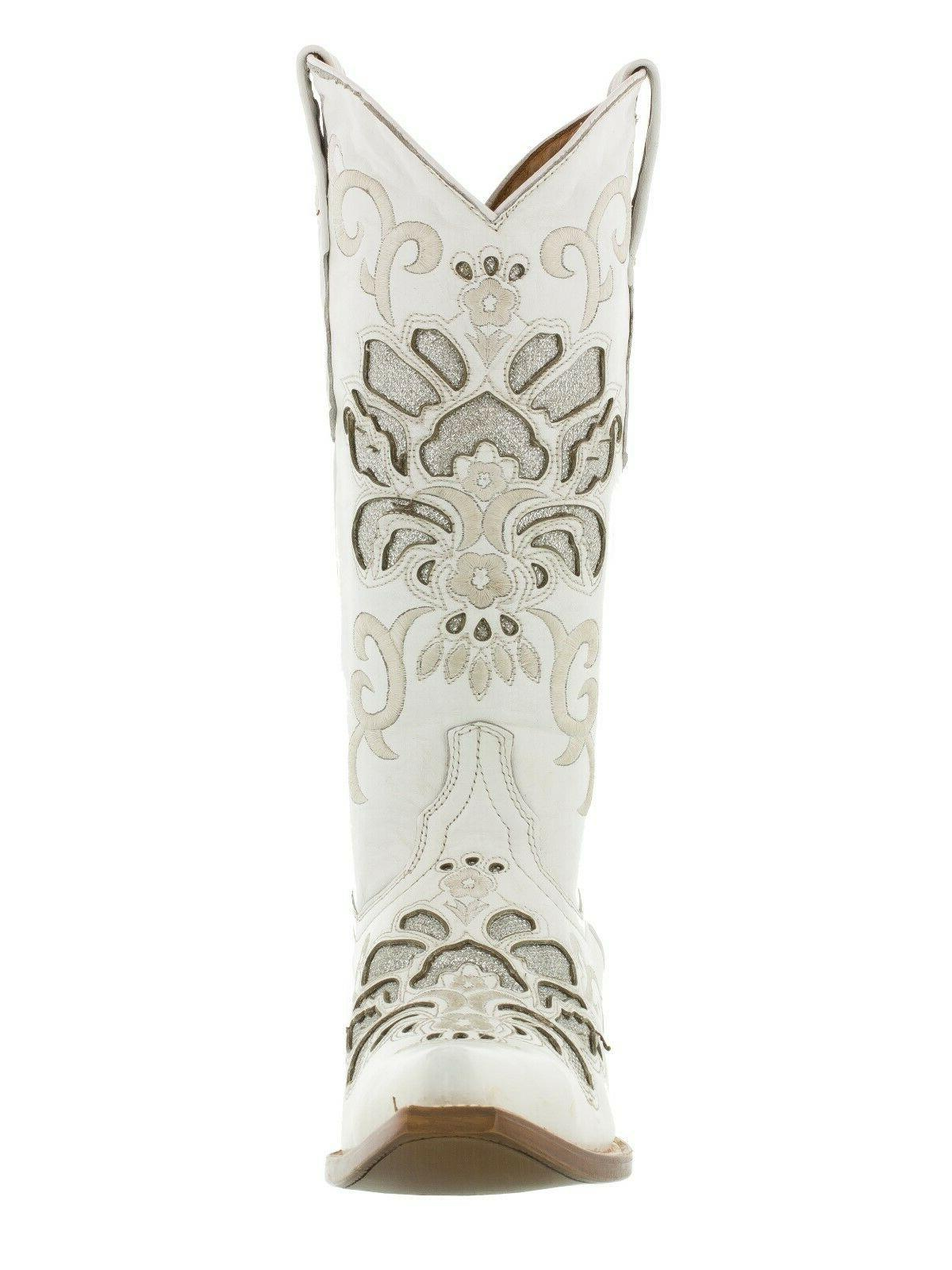 Womens Cowboy Leather Boots White