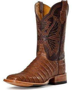 LADIES CINCH EXOTIC CAIMAN COWBOY BOOTS 8B NEW BROWN TAN SQ