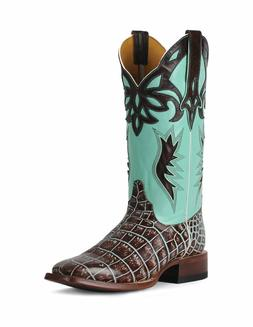 Ladies Women's Cinch Cowboy Boots Croco Print Brown Turquois