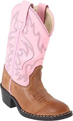 Girls Leather Cowboy Boots in Pink & Brown 2 M US Little Kid