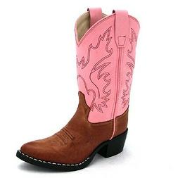 Old West Leather Girl Western Cowboy Cowgirl Boots - Pink 9