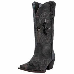 Laredo Women's Lucretia Leather Black/Tan Knee-High Leather