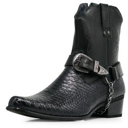Men Black Cowboy Western Boots Shoes Leather Line Motorcycle