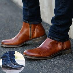 Men Boots Cowhide Faux Leather Round Toe Fashion Ankle Buckl