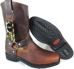 MEN'S BIKER WORK BOOTS GENUINE LEATHER SQUARE TOE RODEO BROW