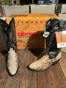 Men's Black and White genuine python cowboy boots by Laredo.