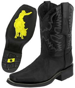 Mens Western Cowboy Boots Black Real Leather Classic Rodeo S