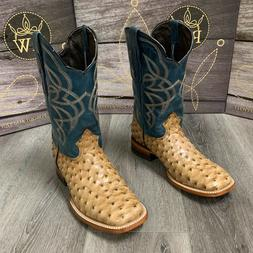 MEN'S BROWN OSTRICH QUILL LEATHER WESTERN RODEO EXOTIC COWBO