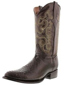 Men's Brown Snake Design Leather Western Casual Cowboy Boots