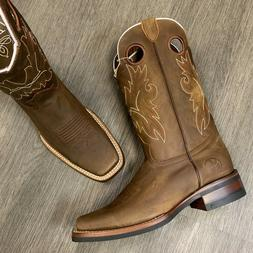MEN'S BROWN WORK BOOTS WESTERN COWBOY SQUARE TOE REAL LEATHE