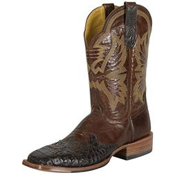 Cinch Men's Caiman Wingtip Cowboy Boot Square Toe Chocolate