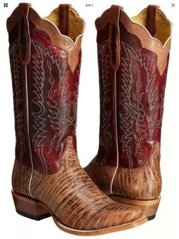 Men's Cinch Cowboy Boots 9 D Blunt Square Toe Western Stitch