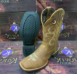 Men's Cowboy Rodeo Boots Square Toe Fine Genuine Leather Wes