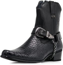 Alberto Fellini Men's Crocodile Prints Western Cowboy Boots