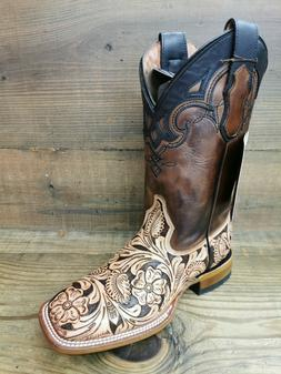 Men's Genuine Hand Tooled Cowboy Boots Broad Square Toe