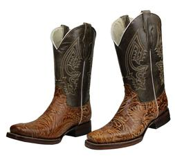 Men's Genuine Leather Cowboy Boots Hand Tooled  Rodeo Square