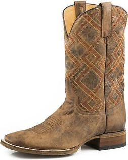 Roper Men's Nash Vintage Geo Embroidered Cowboy Boot Square
