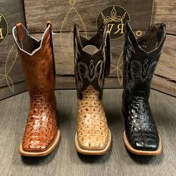 MEN'S RODEO COWBOY ALLIGATOR BACK BOOTS GENUINE LEATHER WEST