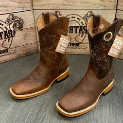 MEN'S RODEO COWBOY BOOTS PATRON BULL DOG TOE LEATHER SOLES C