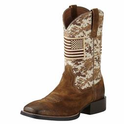 Ariat® Men's Sport Patriot Sand Storm Camo Amercan Flag Boo
