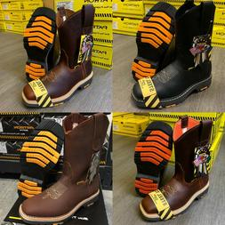 MEN'S SQUARE STEEL TOE WORK BOOTS GENUINE SOFT LEATHER COWBO