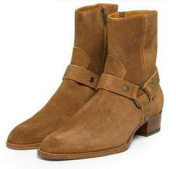 Men's Vintage Cow Suede Ankle Boots Cuban Heel Gladiator Cow