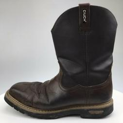 Mens 13 D CINCH Brown Oiled Leather Square Steel Toe Pull On