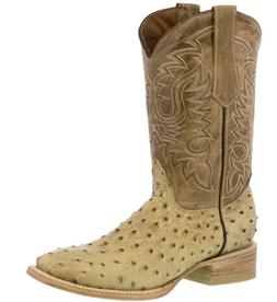 Mens Beige Ostrich Quill Western Cowboy Pattern Leather Boot