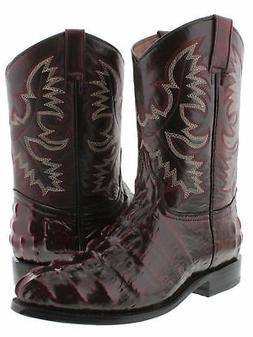 Mens Black Cherry Western Cowboy Boots Crocodile Tail Design