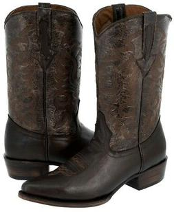 Mens Black Leather Dress Casual Rodeo Cowboy Western Boots
