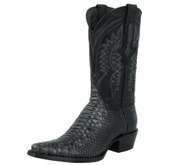 Mens Black Python Snake Pattern Leather Cowboy Boots Casual