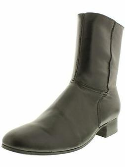Mens Black Zip Up Ankle Boots Cowboy Western Wear Casual Rod