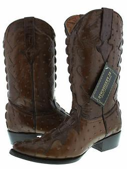 Mens Brown Crocodile Ostrich Design Full Leather Western Cow