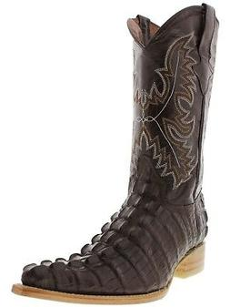 Mens Brown Crocodile Tail Cowboy Boots Real Leather Dress Na
