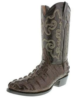 Mens Brown Crocodile Tail Design Round Toe Cowboy Boots Wedd