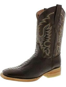 Mens Brown Ostrich Leg Western Cowboy Boots Casual Rodeo Lea