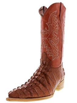 Mens Cognac Crocodile Tail Cowboy Boots Real Leather Natural