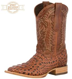 Mens Cowboy Boots Alligator Pattern Genuine Leather Square T