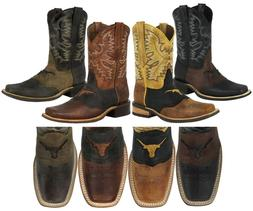 Mens Cowboy Boots Western Dress Bull Design Genuine Leather