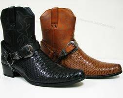 mens cowboy boots western snake skin print