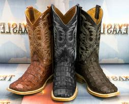 Mens Crocodile Back Cowboy Boots Genuine Leather Western Squ
