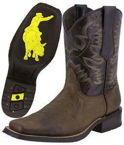 Mens Western Cowboy Boots Dark Brown Real Leather Classic Ro