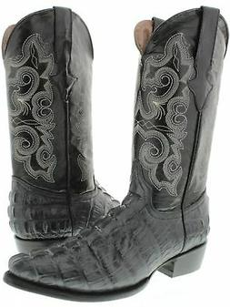 Mens Gray Crocodile Tail Cowboy Boots Western Wear Dress Rea