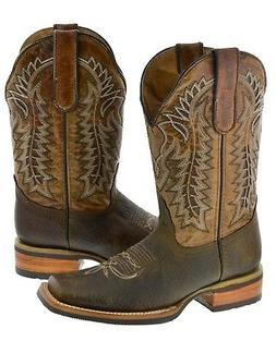 Mens Light Brown Overlay Inlay Genuine Leather Cowboy Boots